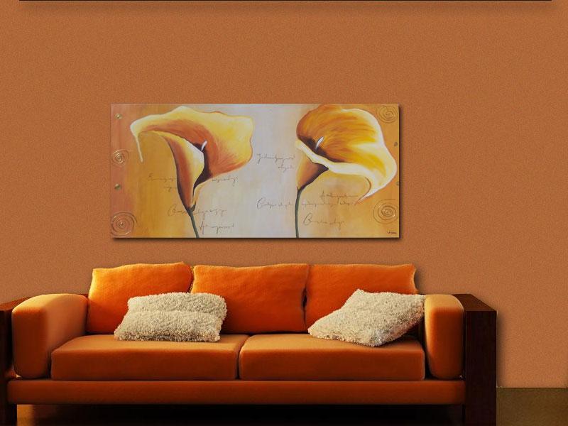 Cuadros modernos con flores minimalistas pintados a mano - Cuadros para salones minimalistas ...